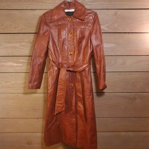 Vintage Red-Brown Genuine Leather Trench Coat